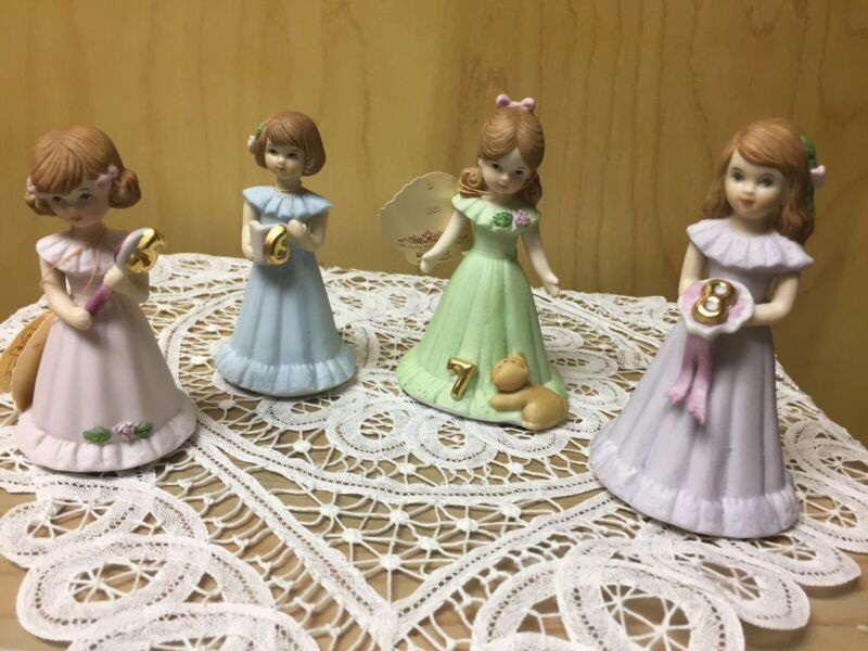 Lot 5 Vintage Enesco Growing Up Birthday Girls Figurine Ages 2 5 6 7 8