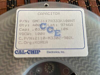 Capacitor Ceramic .033 Uf 100v Smd 1206 4000pcs