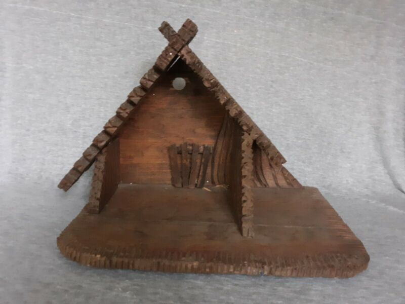 Vintage Christmas Nativity Creche Wood Manger Stable