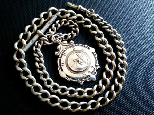 Nice Sterling Silver Albert pocket watch chain and Fob. 44+ grams. 15 1/2 inch