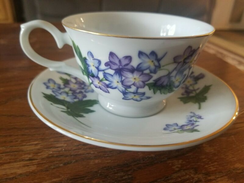 Avon July Larkspur Tea Cup and Saucer Blossoms of the Month Series 1991