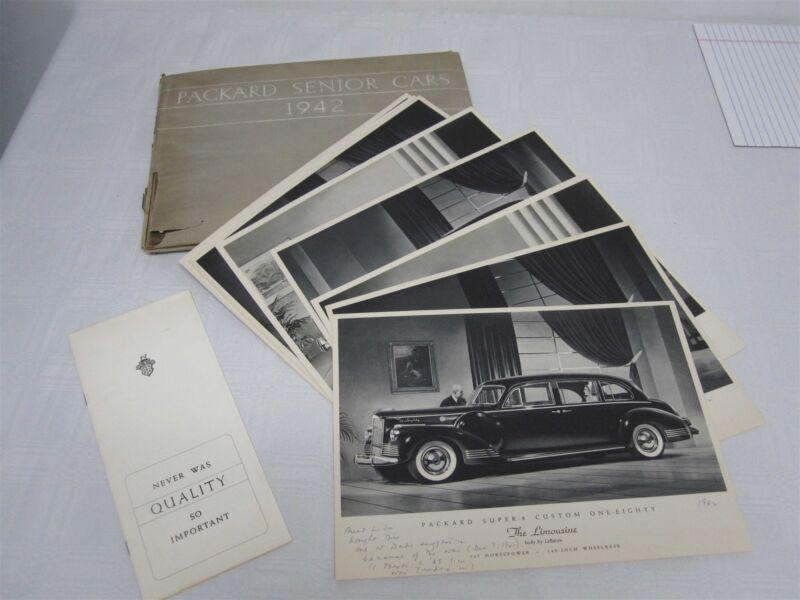 12 PACKARD SENIOR CARS 1942 BROCHURE PORTFOLIO with 12 PRINTS CARDS