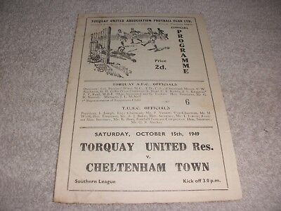 Torquay United Res. v Cheltenham Town  15/10/49.  Southern League.