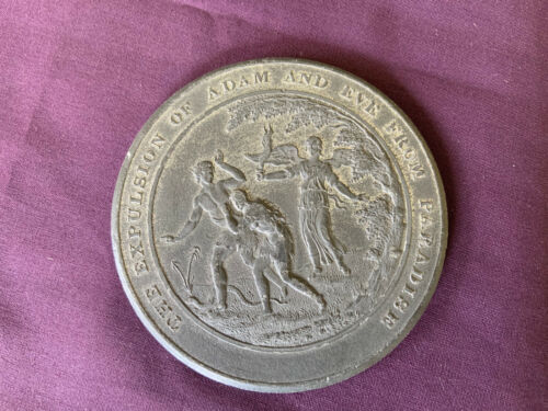 """Thomason Medallic Bible """"Expulsion of Adam and Eve""""silver Medal"""