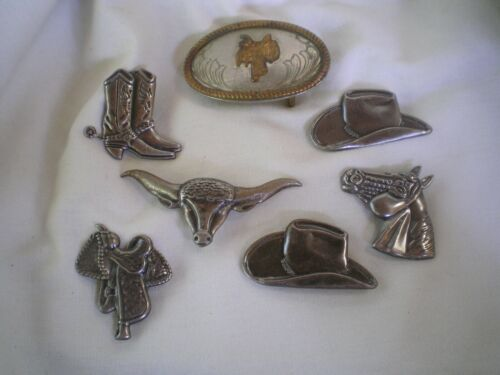 JUSTIN BELT CO~Buckle~Nickel Silver~6 Western Button Covers~Vintage~Lot of 7