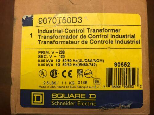 1 NEW SQUARE D 9070T50D3 INDUSTRIAL CONTROL TRANSFORMER 208V - 120V #7206