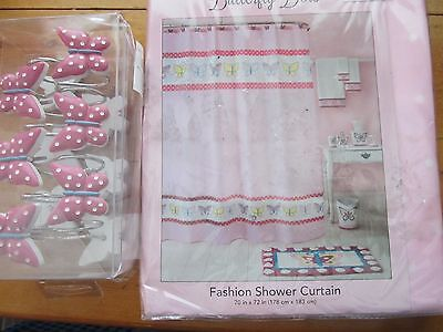PINK POLKA DOT BUTTERFLY POLYESTER SHOWER CURTAIN & 12 HOOKS BATHROOM MAKEOVER