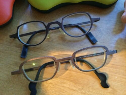 Theo Eyeglass Frames 2 Pair Taupe Titanium120 Switch & Waffles Quality Very Good