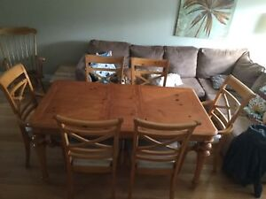Wood kitchen dining table with 6 chairs