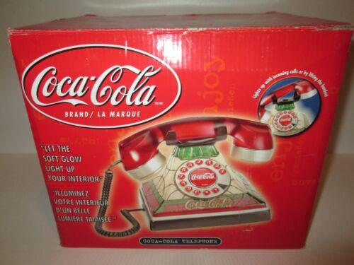 Coca-Cola Tiffany-Style Glass Light up Telephone NEW