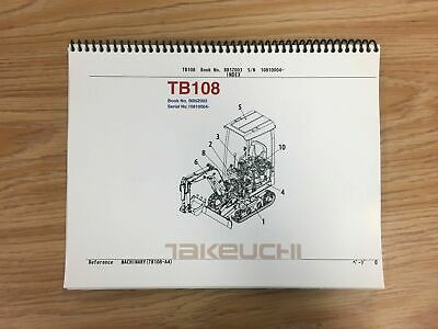 Takeuchi Tb108 Parts Manual Sn 10810004 And Up Free Priority Shipping