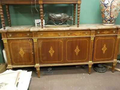 lg antique 1900's inlayed french empire  3 pc marble top sideboard over 8' (French Empire Marble)