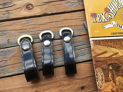 Tex Shoemaker Black Clarino Leather Sam Browne Belt Straps With D Ring