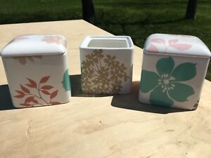 3 storage bathroom canisters