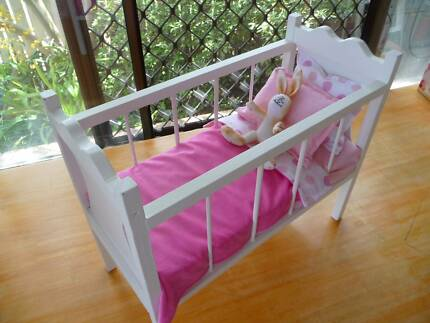 WOODEN DOLL'S  COT WITH NEW BEDDING                           (5)