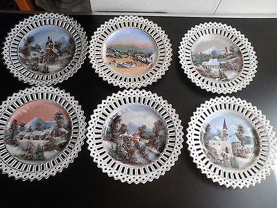 6 antike Teller mit Ansichten aus Haindorf