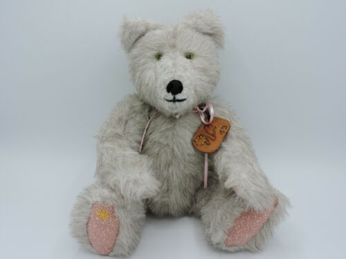 """Vintage Stuffed Bear Jointed Gray 13"""""""