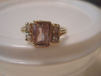 14k (58.3%) Solid Yellow Gold Baby Ring -Pink Rectangle & 4 Clear Stone - Size 2