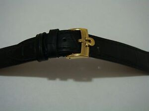 18mm Omega Black Leather Band with Yellow Gold Buckle