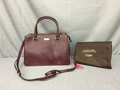 👜KATE SPADE WKRU 4056 Q393 PLACE LISE MAHOGANY BURGUNDY PATENT LEATHER SATCHEL-