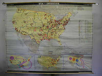 Schulwandkarte Map USA Industry Havy North America Haack Gotha 3,5mio, 1970,
