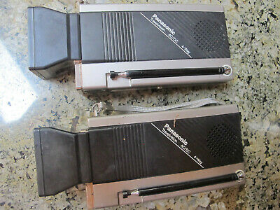 Pair Vintage Panasonic B&W TV TR-1030P Portable AC/DC 4-Way They Turn On AS IS
