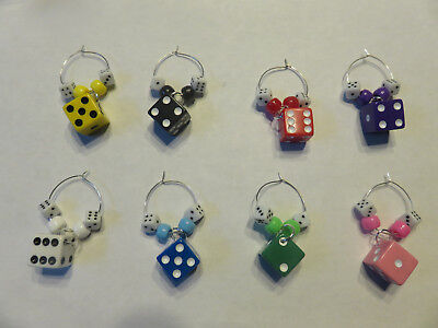 Colored Dice Wine Charms / Glass Identifiers (set of 8) (Bunco Party)