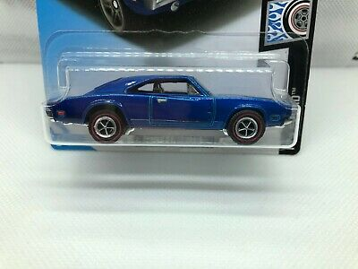 Hot Wheels '69 Dodge Charger 500 BLUE - CUSTOM - Period Rims & Redline Tires