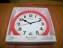NIB Mainstays Wall Clock 8.78 by 1.5 inches White, Black & Coral Colors