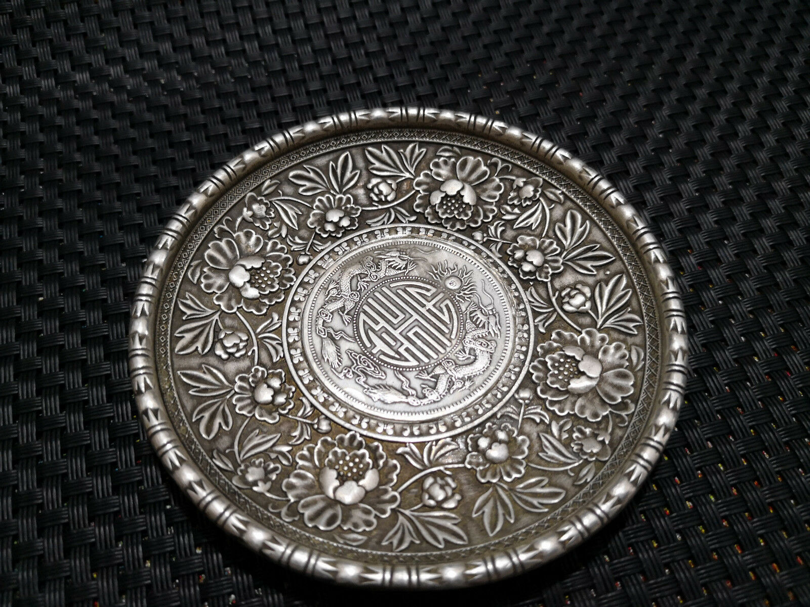 CHINEA FOLK old Carved Tibetan silver plate Ssangyong Yuan Shikai ornaments A20
