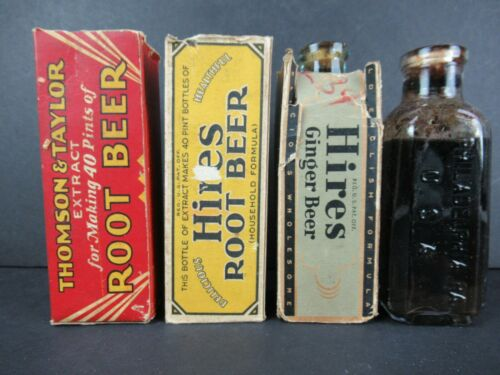 ANTIQUE HIRES ROOT BEER EXTRACT BOTTLES IN BOXES INCL BLUE BOTTLE & THOMSON TAYL