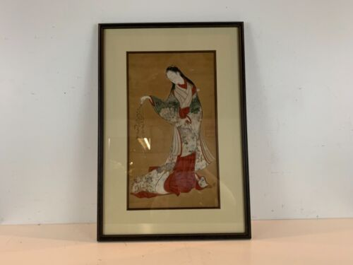 Antique Asian Likely Japanese Scroll Painting of Woman Playing with Cat