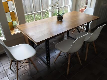 """SIENNA INDUSTRIAL""-RECYCLED WOOD DINING TABLE METAL BASE Brighton Bayside Area Preview"