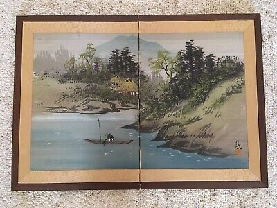 ANTIQUE ASIAN FOLDING PANEL SCREEN WATERCOLOR ON SILK FISHERMAN SIGNED