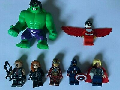 Genuine Lego Marvel Avengers Minifigure Bundle (Hulk Iron Man Thor Black Widow)