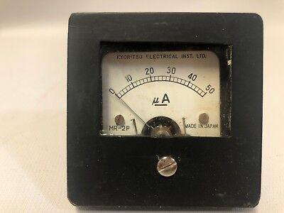 0-50 Ma Vintage Kyoritsu Ammeter Square Panel-mount Analog Amp Meter