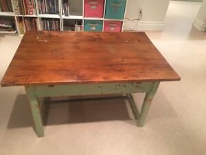 Antique pine painted coffee table