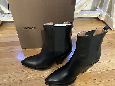 NWT Buttero Low Jane Black Leather Ankle Boot Size 40