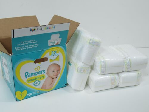 Pampers Swaddlers Diapers Newborn Size 1 (8-14 lb), 198 Count Disposable Baby