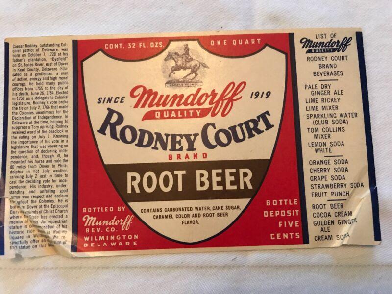Mundorff, Rodney Court Brand Vintage Root Beer Label, Wilmington, Del.