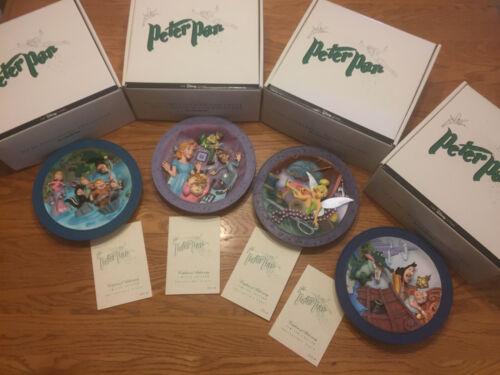 """Set of 4 - 8.5"""" Rare Walt Disney Peter Pan 3D Collectible Relief Plates COAs"""