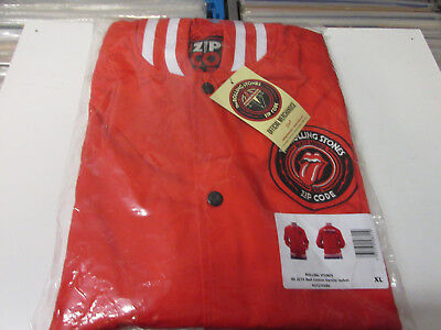 Rolling Stones Zip Code Tour Red Cotton Varsity Jacket Size XL NEU