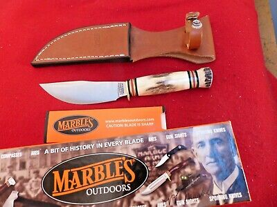 Marbles Gladstone USA STAG/STAG fixed blade mint in box knife