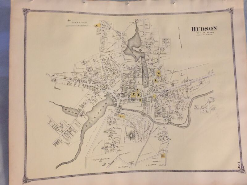 1875 Original Map: Hudson. Massachusetts MA