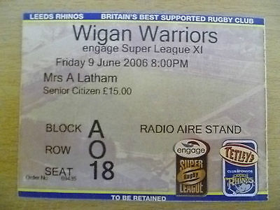 Rugby Match Ticket- 2006 Engage Super League XI- LEEDS RHINOS- WIGAN WARRIORS