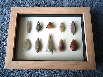 Neolithic Arrowheads in 3D Picture Frame, Authentic Artifacts 4000BC (0860)