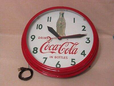 "ORIGINAL 1948 COCA COLA ""ROCKING BOTTLE"" NEON CLOCK - SWIHART PROD.- VERY RARE !"