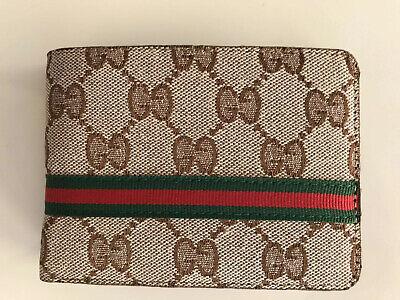 Gucci Double G Logo Guccisima Canvas Mens Wallet Beige