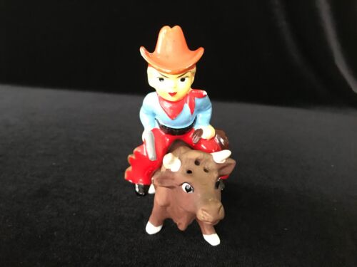 Vintage Ceramic Cowboy Rider on Bull Salt and Pepper Shakers Made in Japan