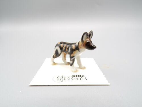 """Little Critterz African Wild Dog Puppy """"Serengeti"""" Porcelain Figurine LC415"""